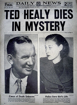 ted healy dies in mystery front page