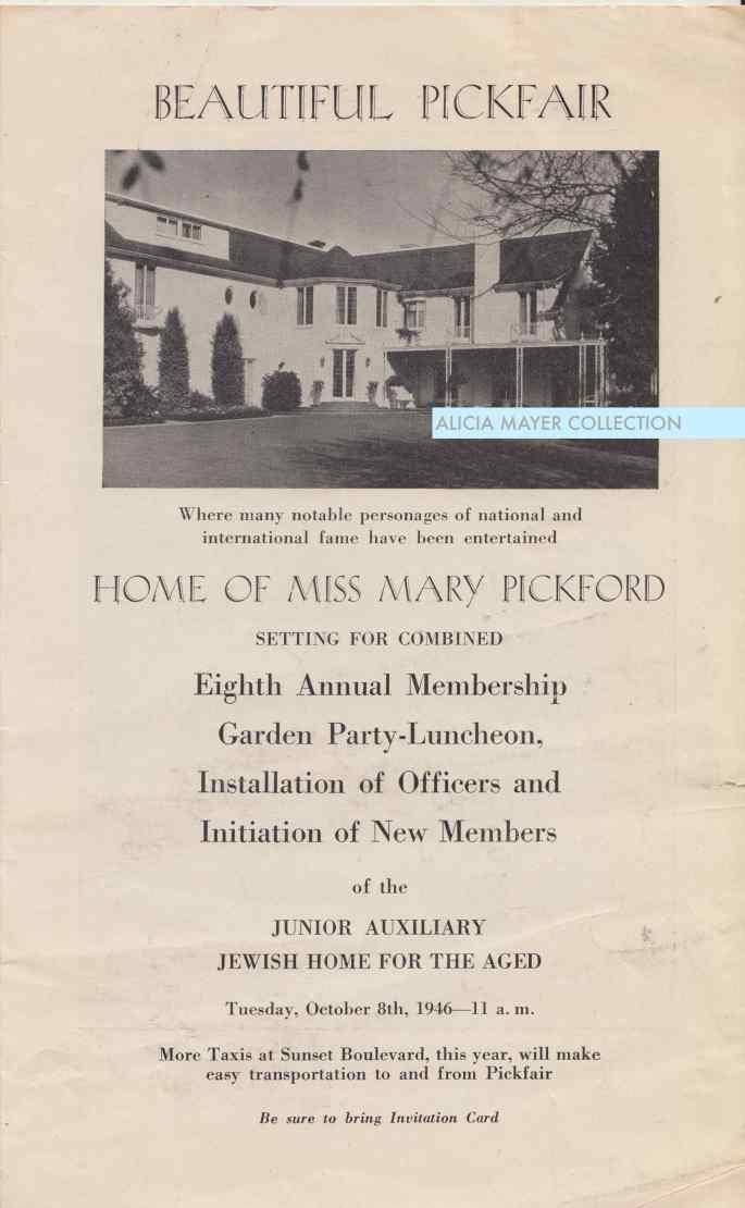Pickfair garden party invitation 1946 front JHA watermark