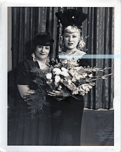 My great-grandmother Ida Mayer Cummings with Mae West during her 1940 visit to the Los Angeles Jewish Home for the Aging following her donation of $500.