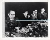 M-G-M studio head Louis B. Mayer with actress Meg Robson, studio exec Irving Thalberg, and actor Lionel Barrymore. 1930s.