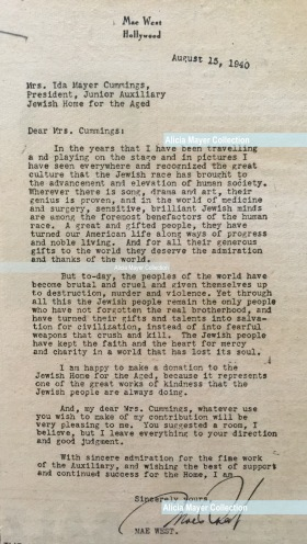 Mae West letter to Ida Aug 1940