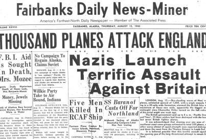 Newspaper headlines aug 15 1940