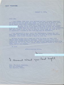 Mary Pickford letter I dreamt about you last night Aug 7 1951 JHA watermark