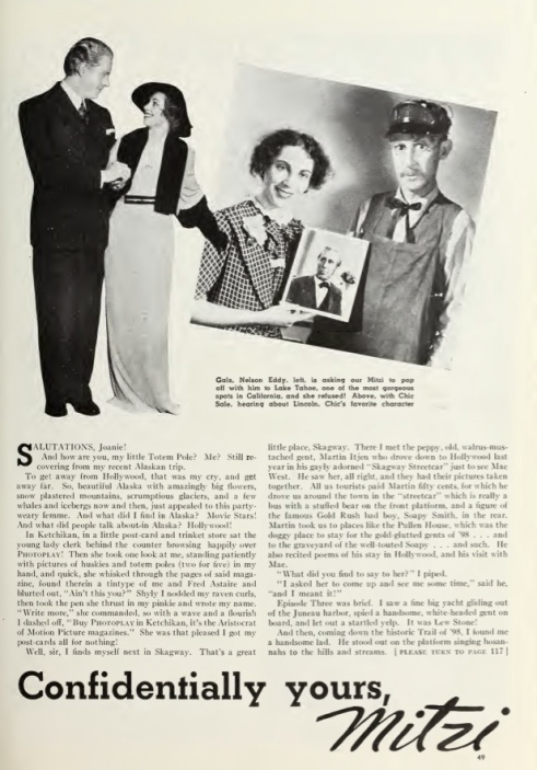 Mitzi article Nelson Eddy Chic Sale Photoplay Dec 1935