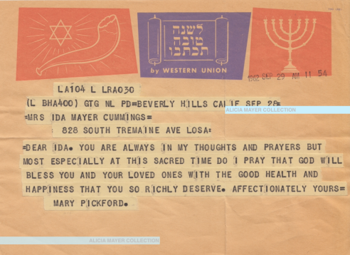 Mary Pickford Rosh Hashana telegram to Ida Sept 28 1962 watermark