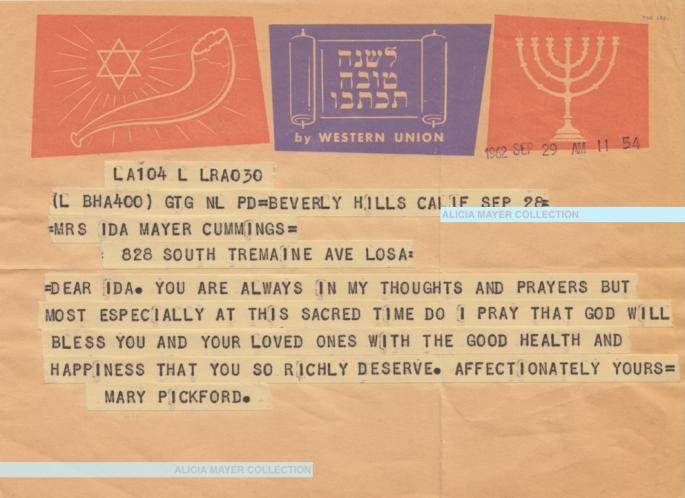 Mary Pickford Rosh Hashana telegram to Ida Sept 28 1962 watermark