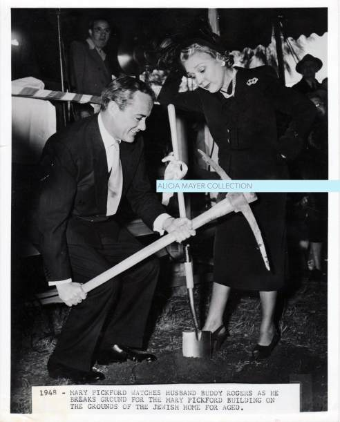 Buddy Rogers and Mary Pickford breaking ground at JHA bld site watermark