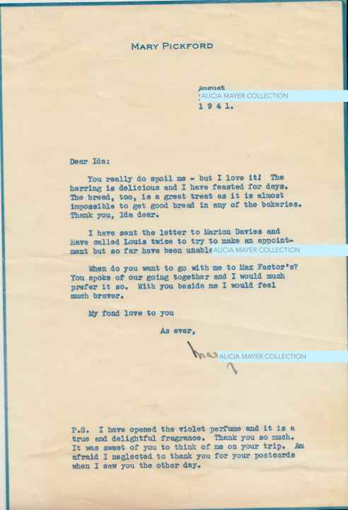 letter from Mary Pickford to Ida Mayer Cumings