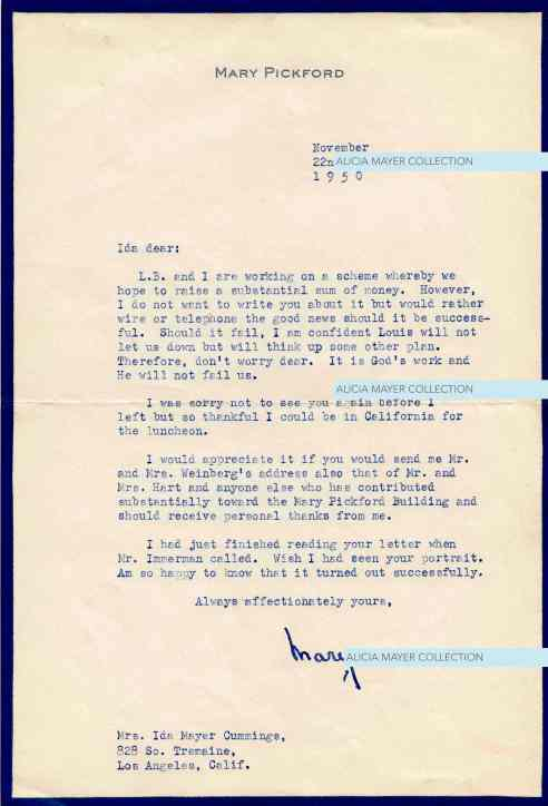 Mary Pickford letter re Louis B Mayer scheme Nov 22 1950 JHA watermark