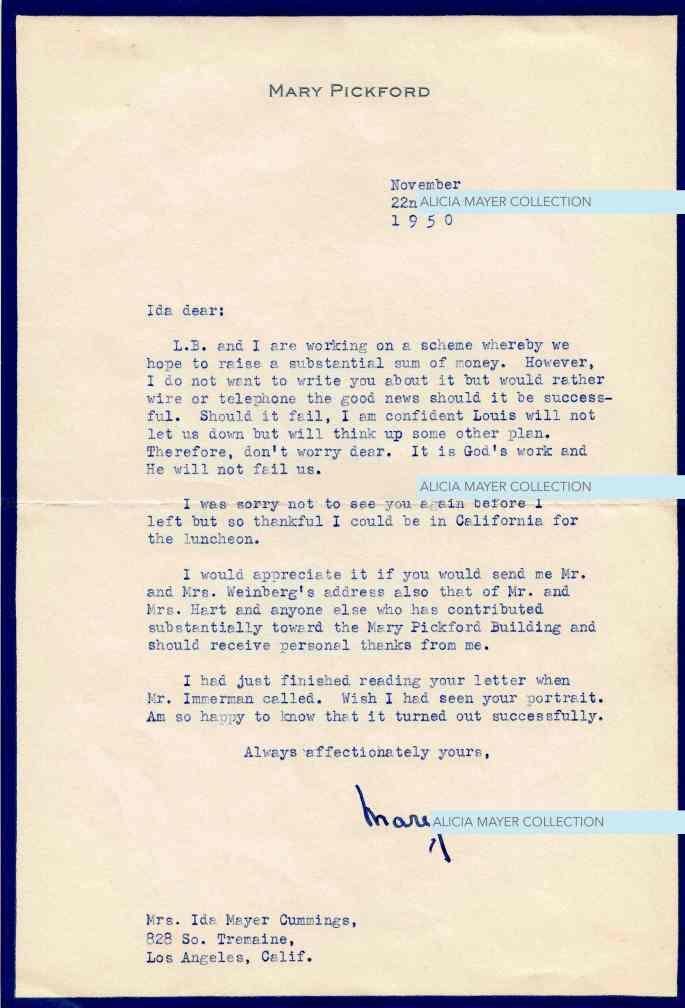 Mary Pickford letter re Louis B Mayer scheme Nov 22 1950 JHA watermark