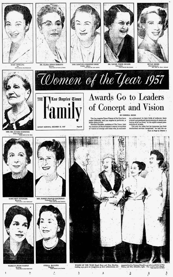 Ida Mayer Cummings Woman of the Yr December 15 1957