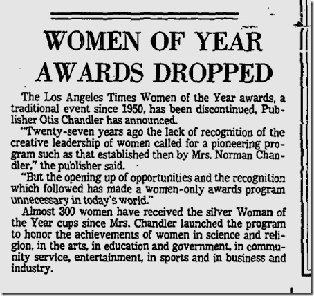 LA Times Woman of the Year dropped