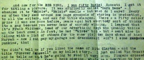 Mitzi letter snipppet naming Maisie film
