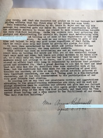 The last page of Anna Belousoff's 4-page report about the Mary Pickford groundbreaking ceremony. She mentions the speech given by Louis B. Mayer, which was evidently quite moving.